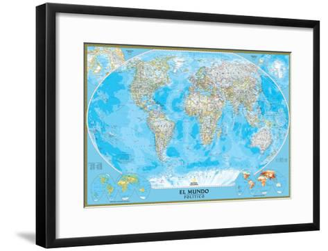 Spanish Classic World Map-National Geographic Maps-Framed Art Print