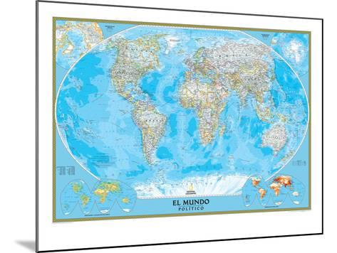 Spanish Classic World Map-National Geographic Maps-Mounted Art Print