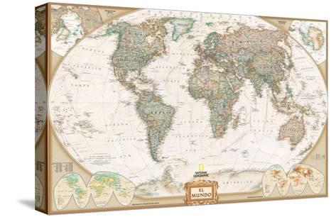 Spanish Executive World Map-National Geographic Maps-Stretched Canvas Print