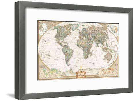 Spanish Executive World Map-National Geographic Maps-Framed Art Print