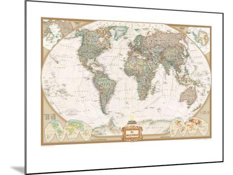 Spanish Executive World Map-National Geographic Maps-Mounted Art Print
