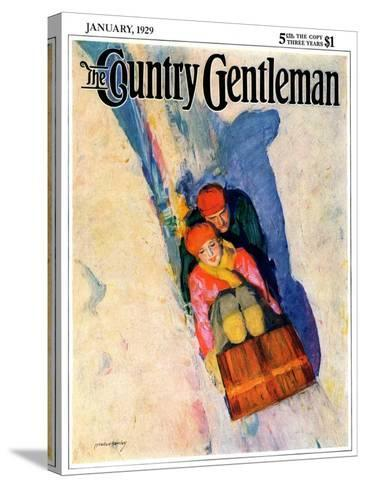 """Couple on Toboggan,"" Country Gentleman Cover, January 1, 1929-McClelland Barclay-Stretched Canvas Print"