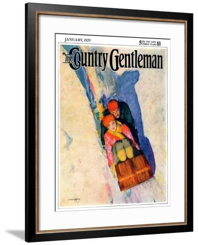 """Couple on Toboggan,"" Country Gentleman Cover, January 1, 1929-McClelland Barclay-Framed Art Print"