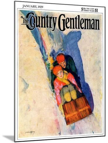 """Couple on Toboggan,"" Country Gentleman Cover, January 1, 1929-McClelland Barclay-Mounted Giclee Print"