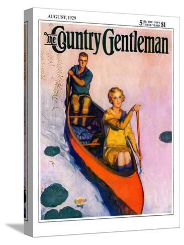"""Couple Paddling Caone,"" Country Gentleman Cover, August 1, 1929-McClelland Barclay-Stretched Canvas Print"