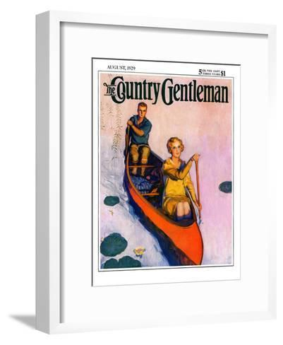 """Couple Paddling Caone,"" Country Gentleman Cover, August 1, 1929-McClelland Barclay-Framed Art Print"