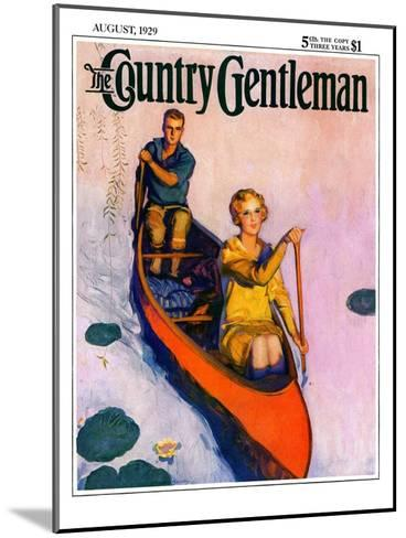 """Couple Paddling Caone,"" Country Gentleman Cover, August 1, 1929-McClelland Barclay-Mounted Giclee Print"