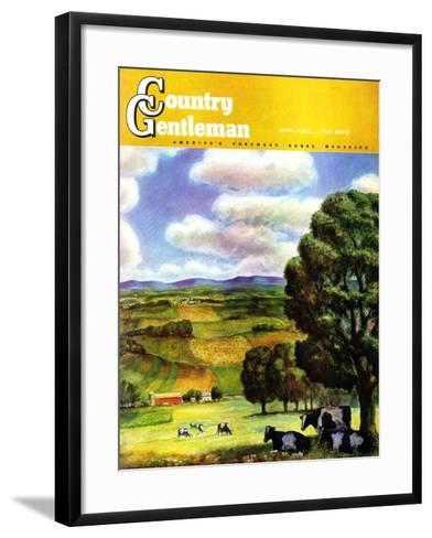 """Farm Landscape,"" Country Gentleman Cover, April 1, 1942-J^ Steuart Curry-Framed Art Print"