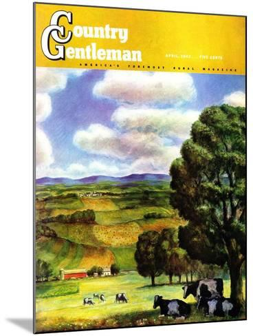 """""""Farm Landscape,"""" Country Gentleman Cover, April 1, 1942-J^ Steuart Curry-Mounted Giclee Print"""