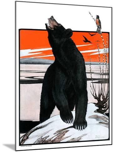 """""""Bear and Robin Welcome Spring,""""March 14, 1925-Paul Bransom-Mounted Giclee Print"""