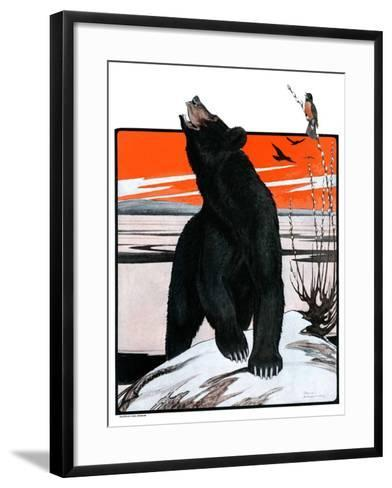 """""""Bear and Robin Welcome Spring,""""March 14, 1925-Paul Bransom-Framed Art Print"""