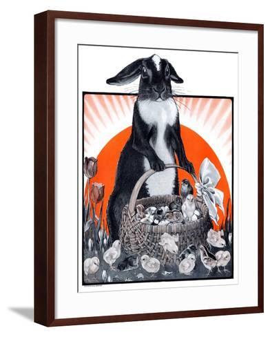 """Easter Bunny and Basket of Chicks,""April 4, 1925-Paul Bransom-Framed Art Print"