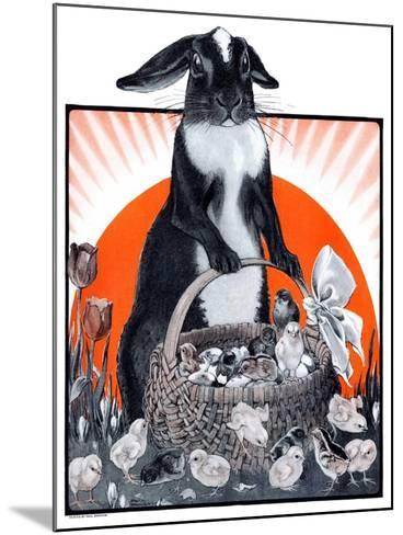 """""""Easter Bunny and Basket of Chicks,""""April 4, 1925-Paul Bransom-Mounted Giclee Print"""