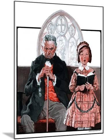 """Grandpa Sleeps, Girl Sings in Church,""April 11, 1925-William Meade Prince-Mounted Giclee Print"