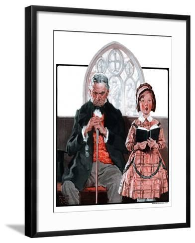 """Grandpa Sleeps, Girl Sings in Church,""April 11, 1925-William Meade Prince-Framed Art Print"