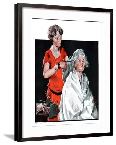 """Grandma Bobs Her Hair,""May 9, 1925-William Meade Prince-Framed Art Print"