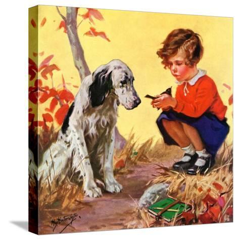 """Girl, Dog and Injured Bird,""November 1, 1935-Henry Hintermeister-Stretched Canvas Print"