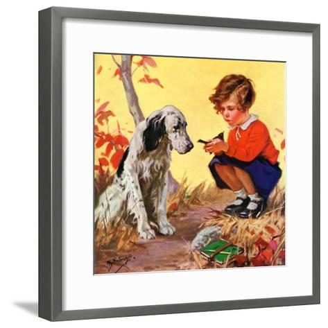 """""""Girl, Dog and Injured Bird,""""November 1, 1935-Henry Hintermeister-Framed Art Print"""