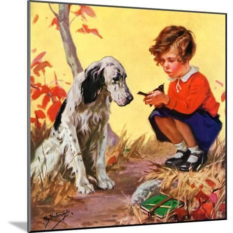 """Girl, Dog and Injured Bird,""November 1, 1935-Henry Hintermeister-Mounted Giclee Print"