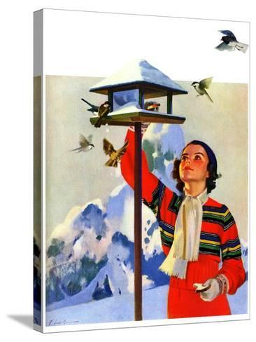 """Feeding the Birds,""February 1, 1936-Jack Murray-Stretched Canvas Print"