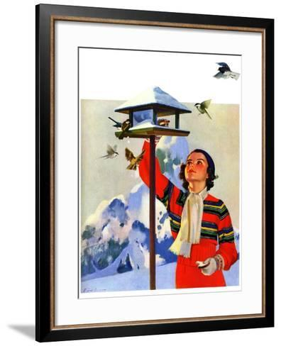 """Feeding the Birds,""February 1, 1936-Jack Murray-Framed Art Print"