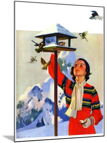 """Feeding the Birds,""February 1, 1936-Jack Murray-Mounted Giclee Print"