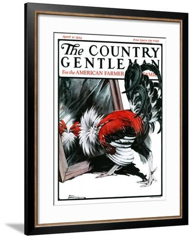 """""""Fancy Rooster in Mirror,"""" Country Gentleman Cover, April 21, 1923-Paul Bransom-Framed Art Print"""
