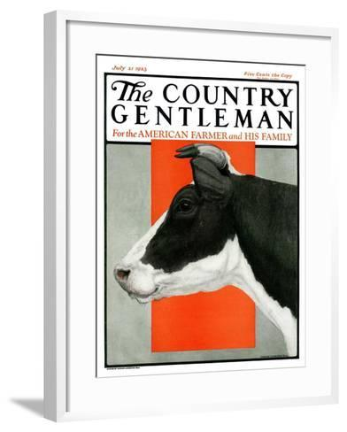 """""""Black and White Cow in Profile,"""" Country Gentleman Cover, July 21, 1923-Charles Bull-Framed Art Print"""