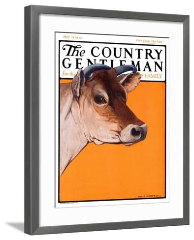 """Dairy Cow,"" Country Gentleman Cover, May 12, 1923-Charles Bull-Framed Art Print"