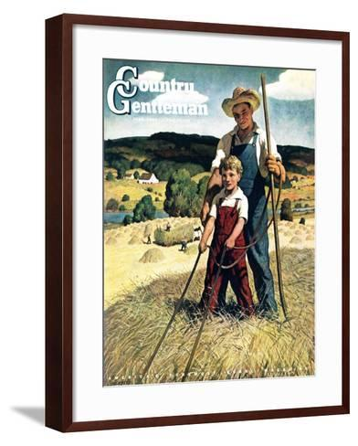 """""""Father and Son on Hay Wagon,"""" Country Gentleman Cover, June 1, 1944-Newell Convers Wyeth-Framed Art Print"""