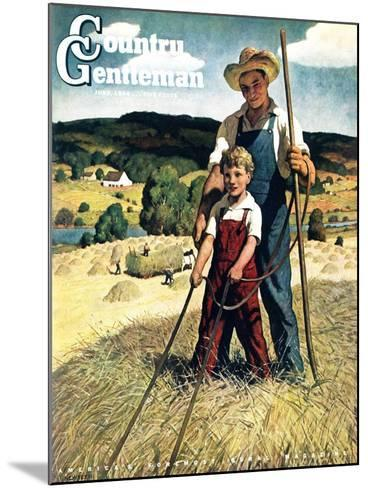 """""""Father and Son on Hay Wagon,"""" Country Gentleman Cover, June 1, 1944-Newell Convers Wyeth-Mounted Giclee Print"""