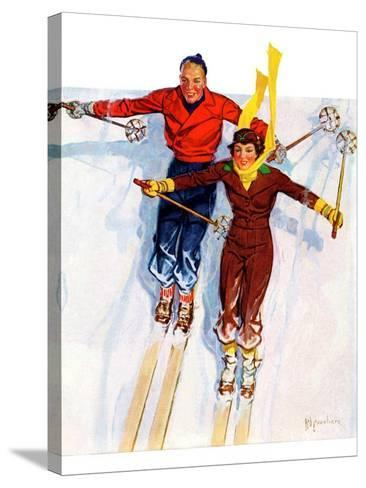 """Couple Downhill Skiing,""January 1, 1937-R^J^ Cavaliere-Stretched Canvas Print"