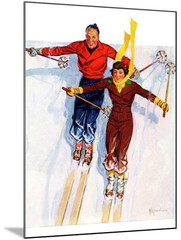 """Couple Downhill Skiing,""January 1, 1937-R^J^ Cavaliere-Mounted Giclee Print"