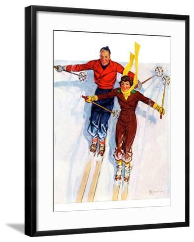 """Couple Downhill Skiing,""January 1, 1937-R^J^ Cavaliere-Framed Art Print"