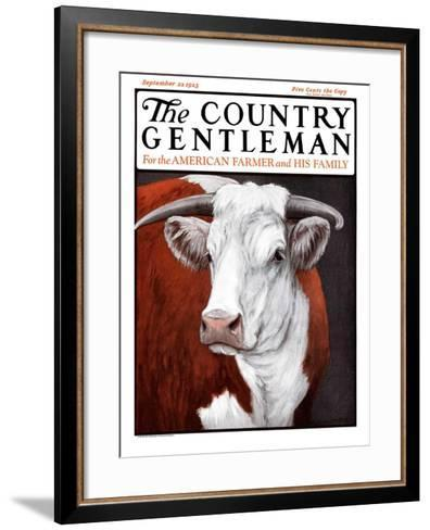 """""""Head of Steer,"""" Country Gentleman Cover, September 22, 1923-Charles Bull-Framed Art Print"""