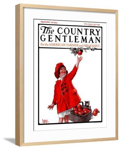 """Picking Apples,"" Country Gentleman Cover, September 29, 1923-WM. Hoople-Framed Art Print"