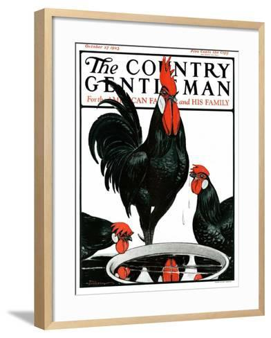"""""""Fowl Reflections,"""" Country Gentleman Cover, October 27, 1923-Paul Bransom-Framed Art Print"""