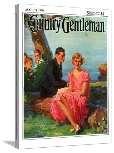 """""""Boys Eavesdropping on Courting Couple,"""" Country Gentleman Cover, August 1, 1930-Frank Bensing-Stretched Canvas Print"""