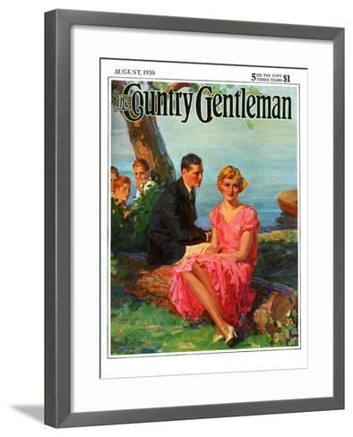 """""""Boys Eavesdropping on Courting Couple,"""" Country Gentleman Cover, August 1, 1930-Frank Bensing-Framed Art Print"""