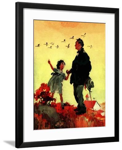 """Geese Flying South,""October 1, 1925-William Meade Prince-Framed Art Print"