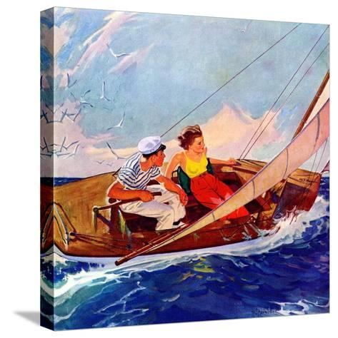 """""""Couple Sailing,""""July 1, 1937-R^J^ Cavaliere-Stretched Canvas Print"""