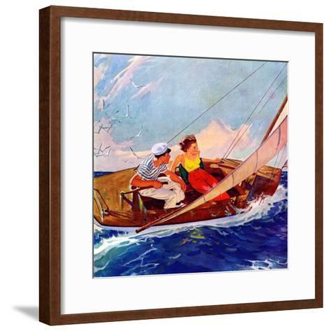 """Couple Sailing,""July 1, 1937-R^J^ Cavaliere-Framed Art Print"