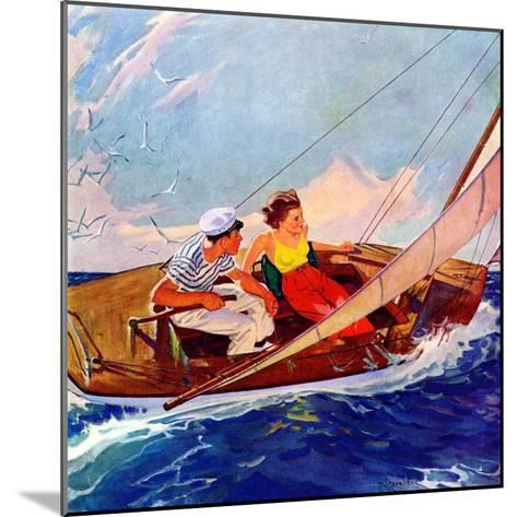 """""""Couple Sailing,""""July 1, 1937-R^J^ Cavaliere-Mounted Giclee Print"""