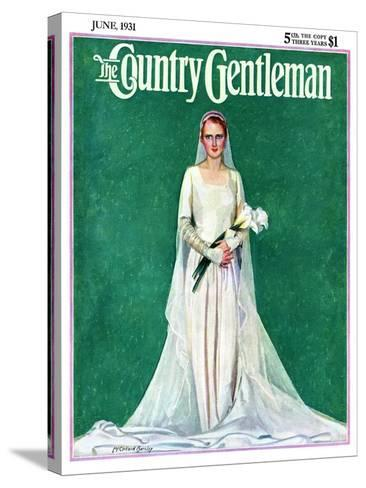 """""""Bride with Calla Lilies,"""" Country Gentleman Cover, June 1, 1931-McClelland Barclay-Stretched Canvas Print"""