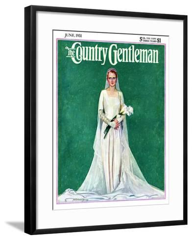"""""""Bride with Calla Lilies,"""" Country Gentleman Cover, June 1, 1931-McClelland Barclay-Framed Art Print"""