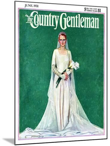 """""""Bride with Calla Lilies,"""" Country Gentleman Cover, June 1, 1931-McClelland Barclay-Mounted Giclee Print"""