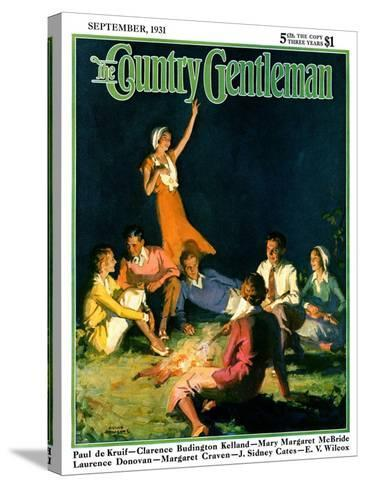 """""""Couples by Bonfire,"""" Country Gentleman Cover, September 1, 1931-Frank Bensing-Stretched Canvas Print"""