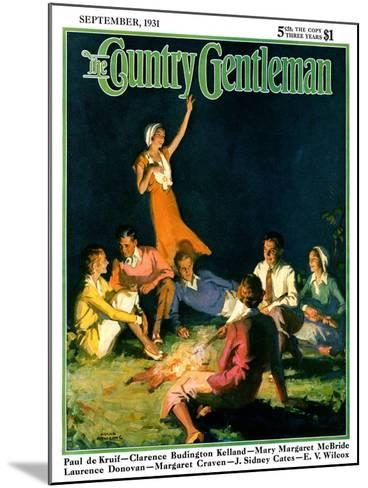 """""""Couples by Bonfire,"""" Country Gentleman Cover, September 1, 1931-Frank Bensing-Mounted Giclee Print"""