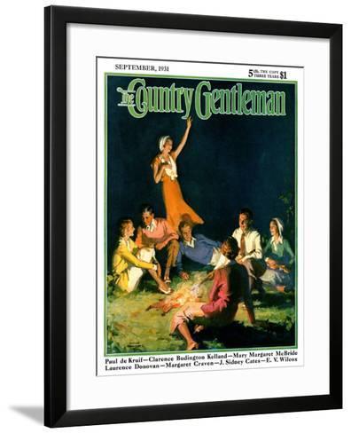 """Couples by Bonfire,"" Country Gentleman Cover, September 1, 1931-Frank Bensing-Framed Art Print"
