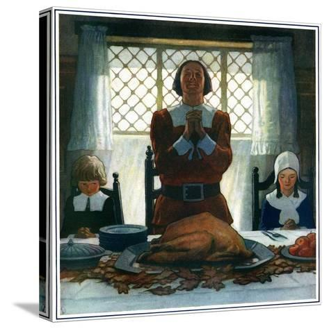 """""""An Early Thanksgiving,""""November 1, 1926-Newell Convers Wyeth-Stretched Canvas Print"""